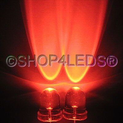 New 200 pcs 8MM wide angle 45KMCD red led f/r 40°