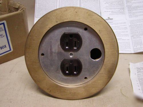 New lew brass flush floor box electrical outlet for Floor electrical outlet