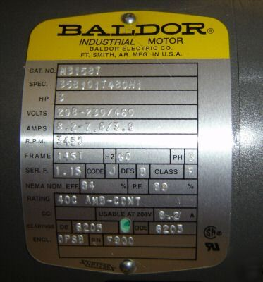 Baldor 3 hp 3 phase electric motor three phase m3158t for 3 hp single phase electric motor